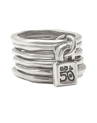 Uno De 50 Hammered Metal Layered Ring Silver