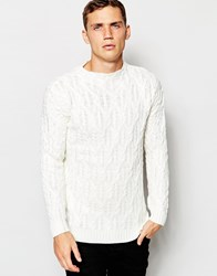 Pull And Bear Pullandbear Chunky Cable Knitted Jumper Beige