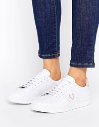 Fred Perry White And Pink Leather Trainers White Pink