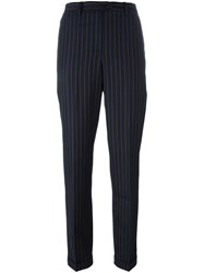 Jacquemus Striped Straight Trousers Blue