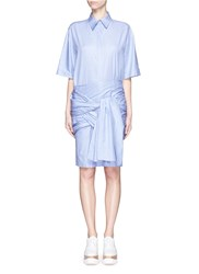 Stella Mccartney 'Martine' Wrap Sash Tie Houndstooth Shirt Dress Blue
