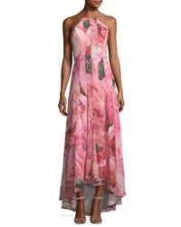 Phoebe Couture Watercolor Floral Print Chiffon Gown Multi Pattern