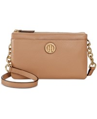 Tommy Hilfiger Double Zipper Pebble Leather Crossbody Sand