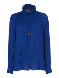 Biba Fully Pleated Collar Detail Volume Blouse Blue