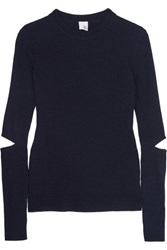 Iris And Ink Cutout Ribbed Merino Wool Sweater Navy