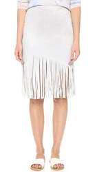 Bb Dakota Jesper Faux Suede Fringe Skirt Light Grey