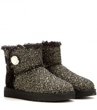 Ugg Mini Bailey Button Embellished Tweed Boots Black