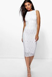 Boohoo Crochet Lace Mdi Bodycon Dress White