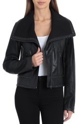 Bagatelle Envelope Collar Faux Leather Biker Jacket Black