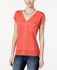 Sanctuary Short Sleeve Layered Look Top Libertyred