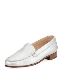Gravati Metallic Leather Venetian Loafer Silver