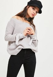 Missguided Grey Tie Sleeve Bardot Knitted Jumper