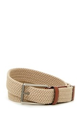 Original Penguin Woven Elastic Leather Belt Beige