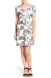 Women's Tommy Bahama 'Marceau Toile' Tropical Print Empire Dress