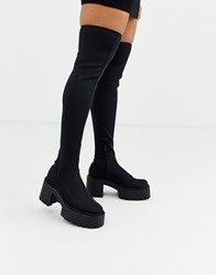 Bershka Chunky Sole Pull On Boots In Black