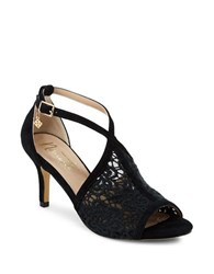 Nanette By Nanette Lepore Bella Suede And Crochet Ankle Strap Stilettos Black