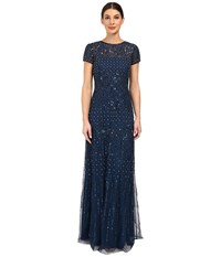 Adrianna Papell Short Sleeve Fully Beaded Gown Deep Blue Women's Dress