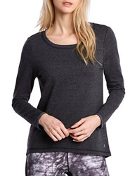 Danskin Scoopneck Long Sleeve Heathered Tee Silver Sand