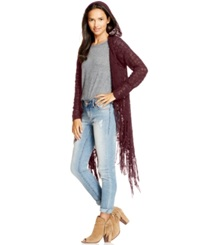 American Rag Hooded Open Knit Fringed Sweater Only At Macy's Zinfandel