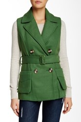 Lavand Belted Double Breasted Vest Green