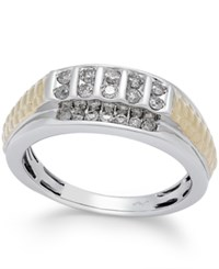 Macy's Men's Diamond Two Tone Ring 1 2 Ct. T.W. In 10K Gold And White Gold
