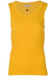 Emilio Pucci Ribbed Knitted Tank Women Polyester Viscose L Yellow Orange