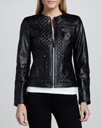 Neiman Marcus Quilted Front Leather Jacket Women's