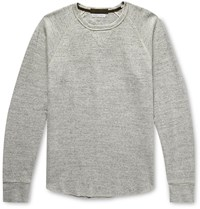 J.Crew Slim Fit Wallace And Barnes Garment Dyed Textured Cotton Sweatshirt Gray