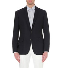 Richard James Single Breasted Wool Travel Blazer Blue