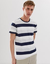 Selected Homme T Shirt With Printed Stripe In Organic Cotton Navy
