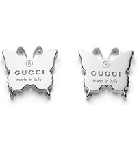 Gucci Butterfly Motif Sterling Silver Stud Earrings