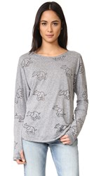 Terez Trunks Up Long Sleeve Burnout Tee Grey