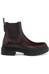 Brunello Cucinelli Bead Embellished Leather Chelsea Boots Brown