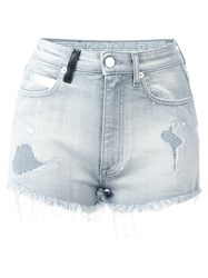 Marcelo Burlon County Of Milan Distressed Denim Shorts Grey