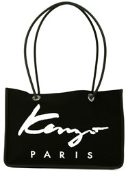Kenzo Signature Tote Women Cotton Calf Leather Nylon One Size Black