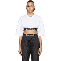 Palm Angels White Cropped Logo Over T Shirt