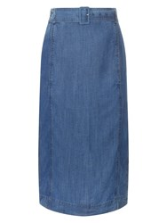 Jaeger Belted Chambray Skirt Blue