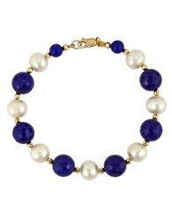 Effy White Pearl Lapis And 14K Yellow Gold Bracelet Lapis Pearl