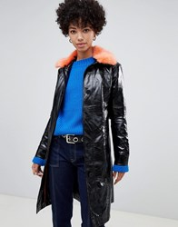 Pepe Jeans Patent Belted Jacket With Faux Fur Collar Black