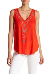 Astr Sleeveless Woven Embroidered Tank
