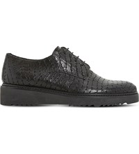 Dune Freed Leather Derby Flatform Shoes Black Reptile