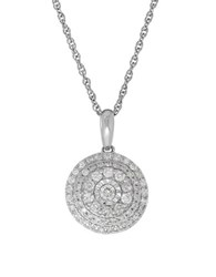Lord And Taylor Andin 14K White Gold Diamond Pave Disc Pendant Necklace 0.50 Tcw