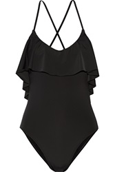Tart Collections Luna Ruffle Trimmed Swimsuit Black