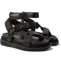 Leather And Suede-trimmed Nylon Sandals - BlackMaison Martin Margiela 3gMiQ31A