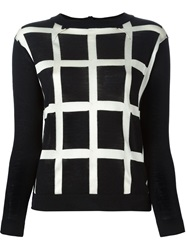 Erika Cavallini Semi Couture Grid Effect Sweater Black