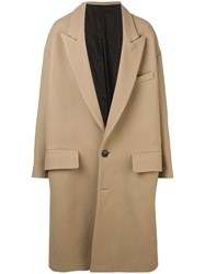 Ami Alexandre Mattiussi Paris Oversize Two Buttons Coat Neutrals
