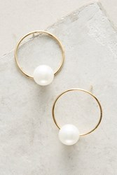 Anthropologie Delicate Pearl Hoop Earrings
