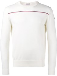 Moncler Contrast Stripe Sweater White