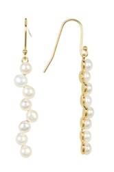 Argentovivo 18K Gold Plated Sterling Silver 4Mm Genuine Freshwater Pearl Stick Drop Earrings Metallic
