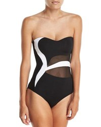 Jets By Jessika Allen Classique Sweetheart Bandeau Colorblocked One Piece Swimsuit Multi